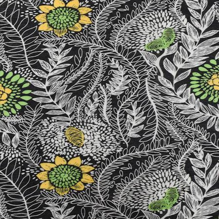 Lime Green/Yellow/Multi Floral Leaf Print Voile, Fabric By the Yard ()