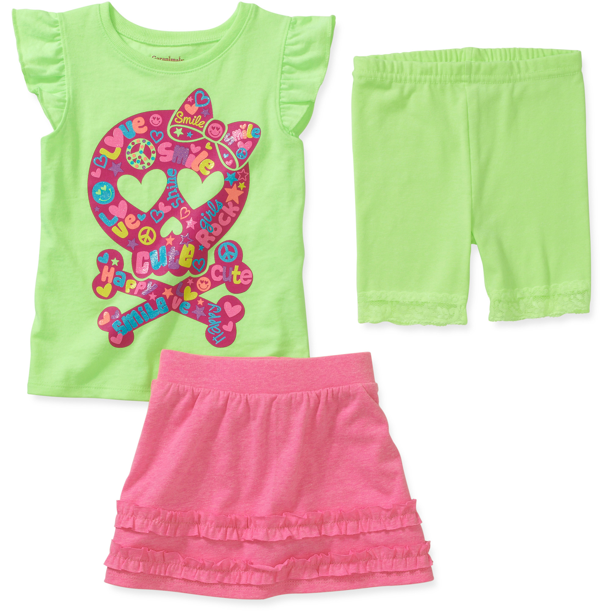 Garanimals Baby Toddler Girl 3-Piece Tee, Skort, and Bike Shorts Set