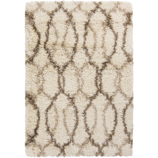 2' x 3' Intwine Rings Tan and Snow White Hand Woven Plush Area Throw Rug