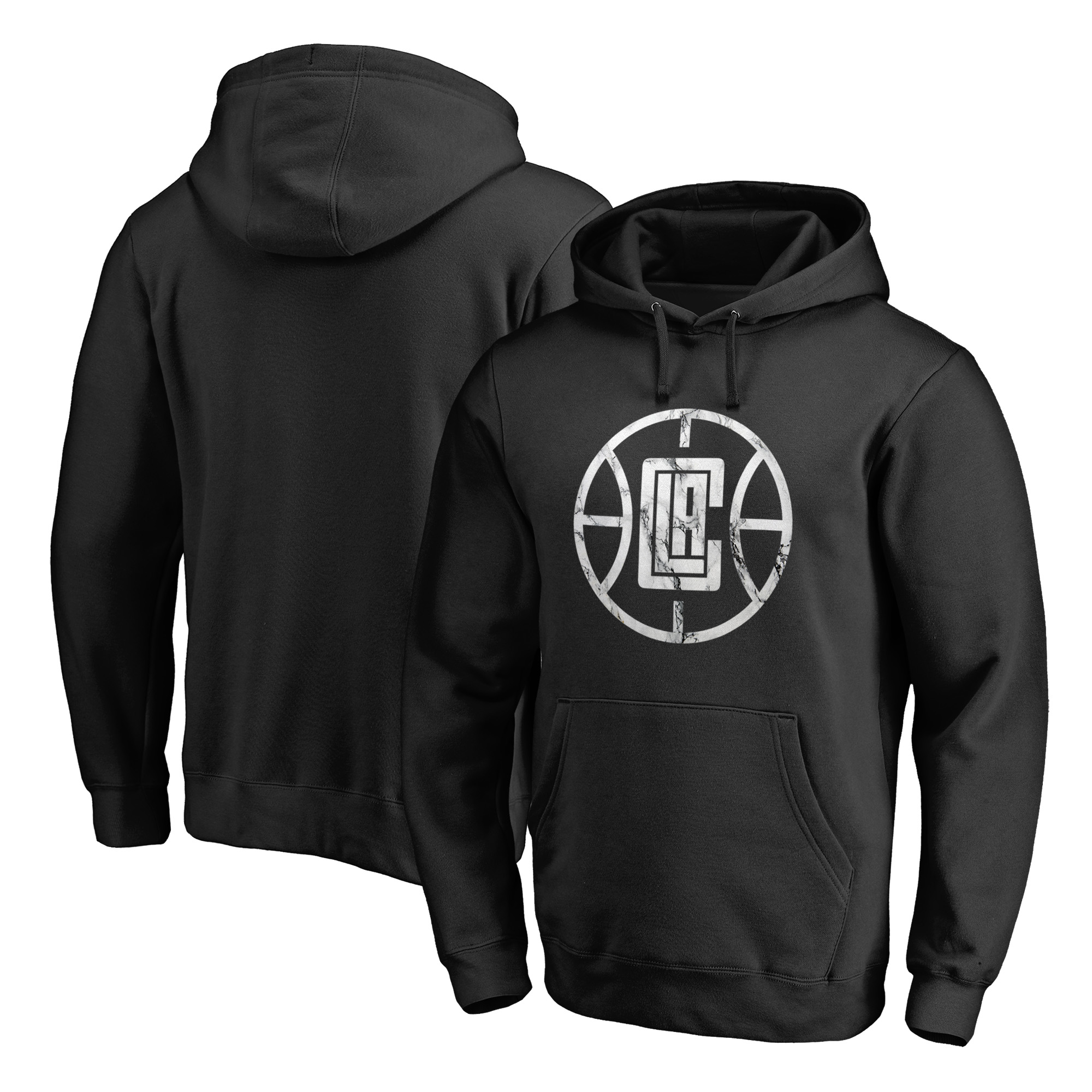 LA Clippers Fanatics Branded Marble Logo Pullover Hoodie - Black - XXL