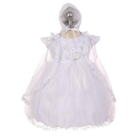 rainkids baby girls white organza tulle cape bonnet christening dress - Christing Dresses