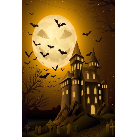 HelloDecor Polyster 5x7ft Haunted House Photography Background Scary Cemetery Castle Backdrop Gloomy Halloween Moon Night Bets Kid Child Boy Girl Artistic Portrait Photoshoot Studio Props Video Drape (Scary Halloween Desktop Backgrounds)