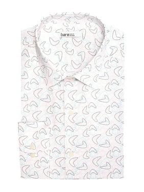 Pink Mens Small Boomerang Print Dress Shirt S