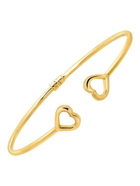 Sideways Heart Edge Cuff Bracelet in 10kt Gold