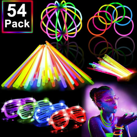 Founders Halloween Party (54 Pack Glow Sticks Bulk Party Pack Supplies Halloween Glow in The Dark)