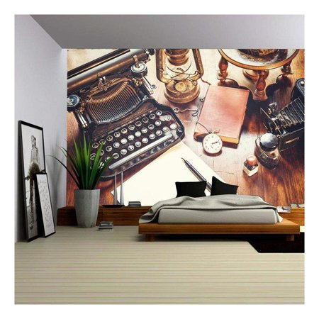 wall26 - Vintage Items, Camera, Pen, Globe, Clock, Typewriter on the Old Desk - Removable Wall Mural | Self-adhesive Large Wallpaper - 66x96 inches (Oregon Scientific Globe Pen)