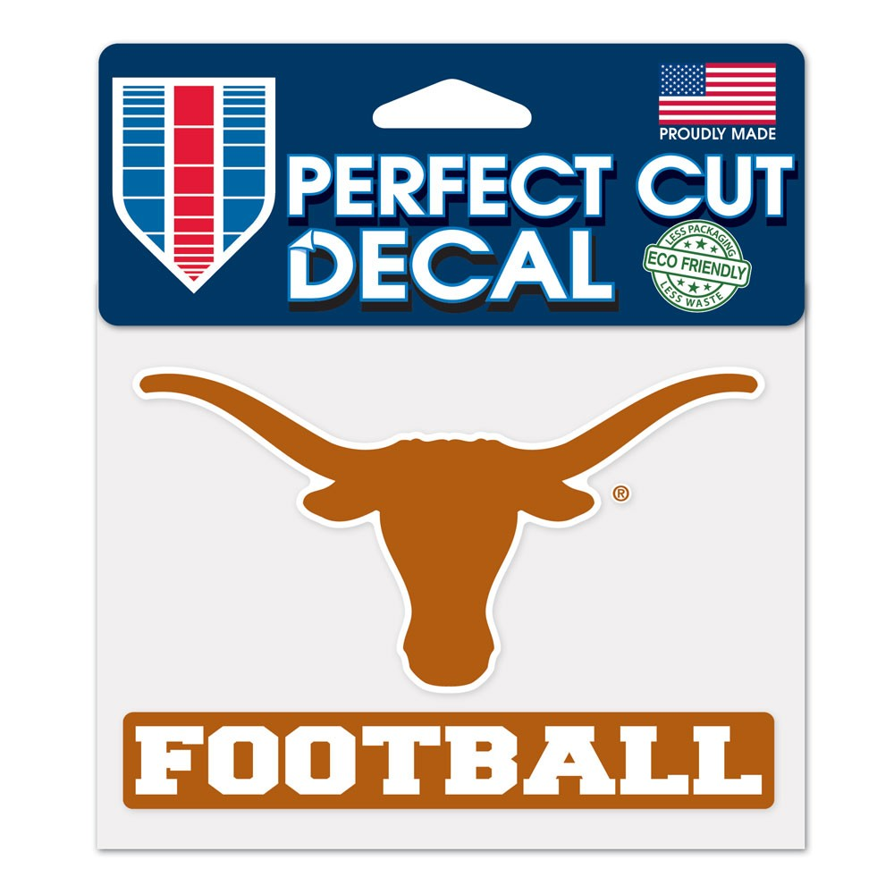 Texas Longhorns Official NCAA 4 inch x 5 inch  Die Cut Car Decal by WinCraft