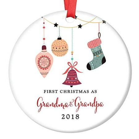 Grandma & Grandpa Ornament 2018, First Christmas as Grandmom & Grandpop New Grandparents Porcelain Ornament, 3