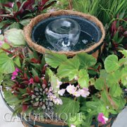 Gardenique Acrylic Coco Round Pot Garden Planter Fountain with LED Light
