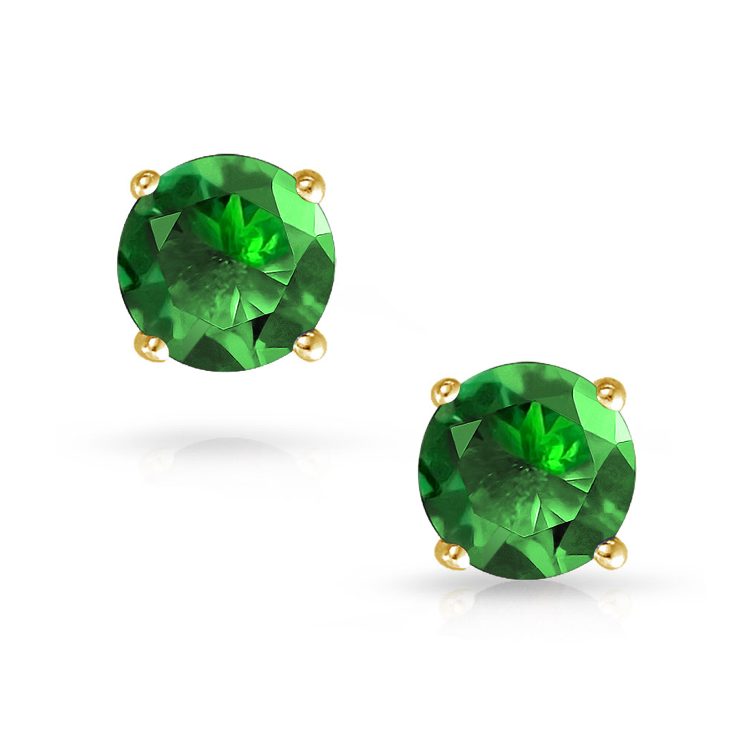 Choose Your Size Simulated Green Emerald 10K Yellow Gold Round Stud Earrings