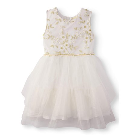 Floral Lace Tiered Mesh Occasion Dress (Big Girls) - Floral Occasion Dress
