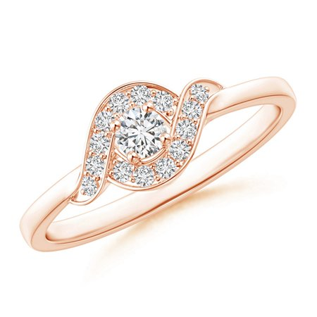 April Birthstone Ring - Round Halo Diamond Bypass Swirl Promise Ring in 14K Rose Gold (3.1mm Diamond) - SR1593D-RG-HSI2-3.1-6.5