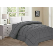 Elegant Comfort Ultra Plush Down Alternative Double-Filled Comforter HypoAllergenic, King/Cal King, Gray