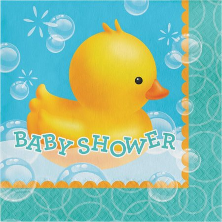Duck Themed Baby Shower Supplies (Creative Converting Rubber Duck Bubble Bath Baby Shower Napkins, 16)