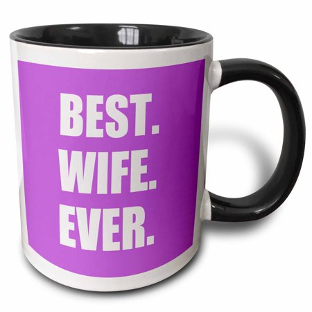 3dRose Purple Best Wife Ever - bold anniversary valentines day gift for her - Two Tone Black Mug,