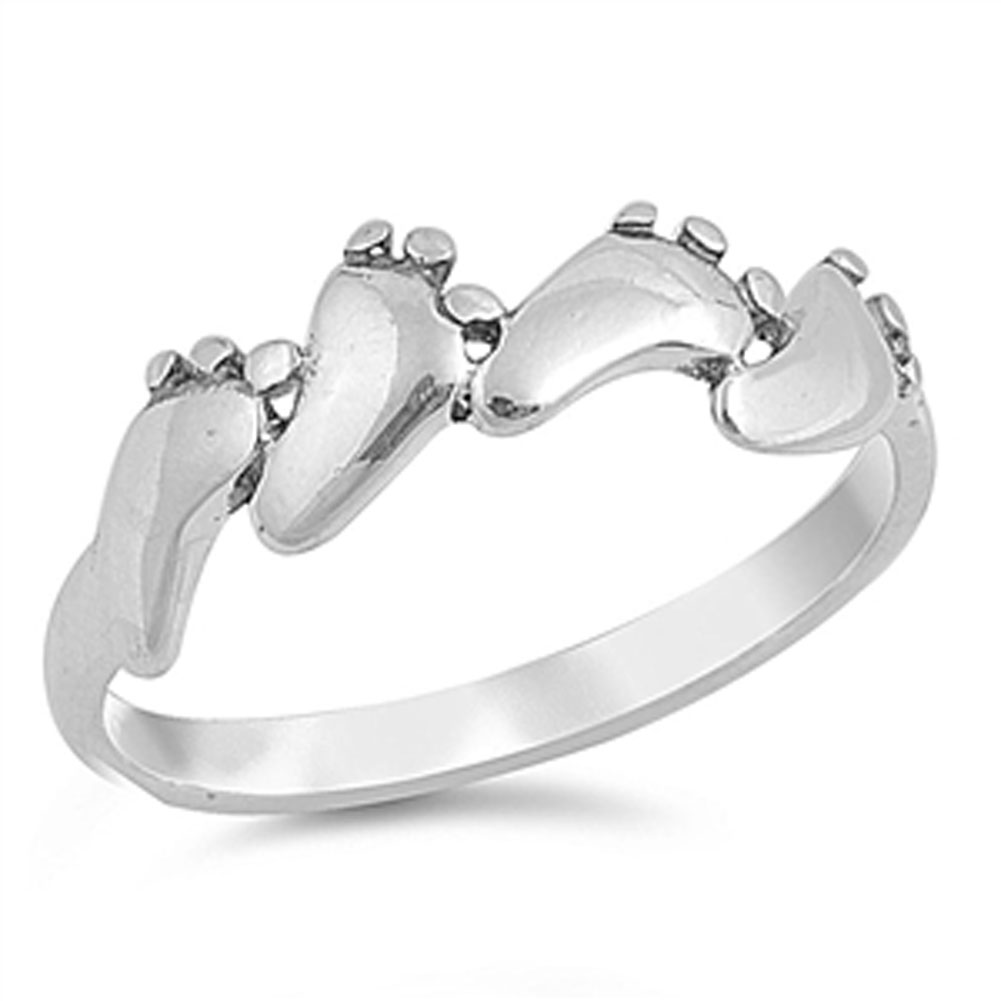 Baby Feet Foot Footprint Ring ( Sizes 3 4 5 6 7 8 9 10 ) New .925 Sterling Silver Band Rings by Sac Silver (Size 6)