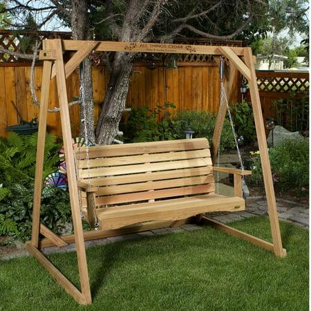 - All Things Cedar Swing with A-Frame Set - Western Red Cedar