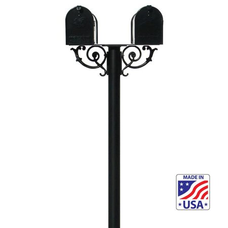 QualArc HPWS2-US-000-E1 6 in. The Hanford TWIN Mailbox Post System with Scroll Supports - Black