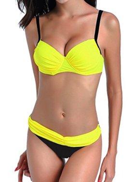 201409f628 LELINTA Women s Elegant Push Up Padded Two Piece Low-Rise Bikini Set  Swimsuit Swimwear