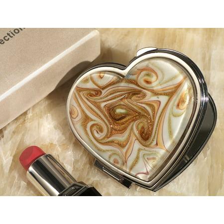 Murano art deco heart compact mirror golden brown glass