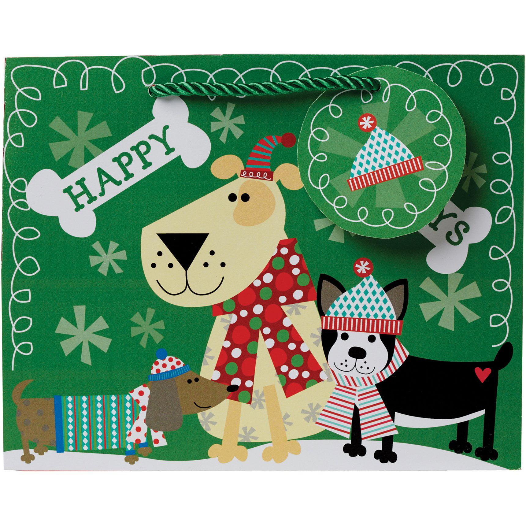 Jillson & Roberts Eco-Friendly Medium Gift Bags, Christmas Dog (12 Pcs)