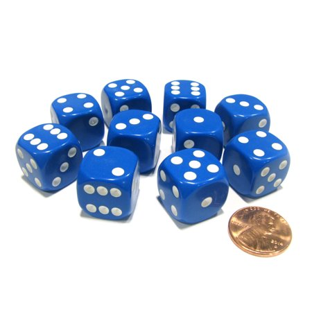Koplow Games Set of 10 Six Sided Round Corner Opaque 16mm D6 Dice - Blue with White Pips