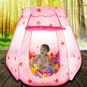 EECOO Folding Princess Ball Pit Tent for Girls Indoor and Outdoor 1 to 8 Years Old Toys, Children Game Pop Up Play Castle Tent