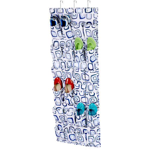 Honey Can Do 24 Pocket Over-The-Door Closet Organizer, White/Blue Canvas