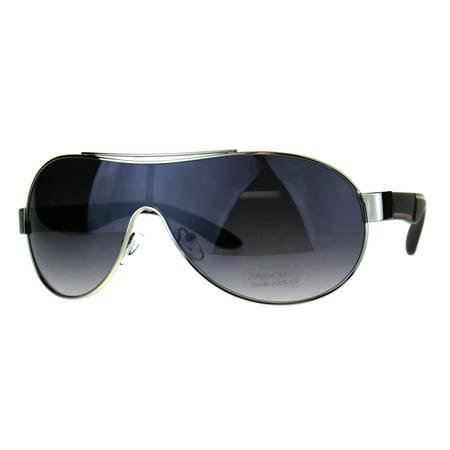 Mens Oversize Shield Racer Pilots Metal Rim Designer Sport Sunglasses Silver Black Smoke
