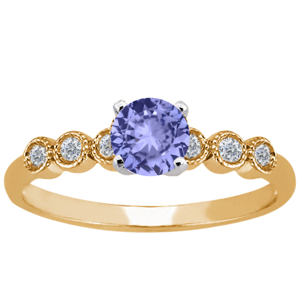 1.04 Ct Round Blue Tanzanite 14K Yellow Gold Ring by