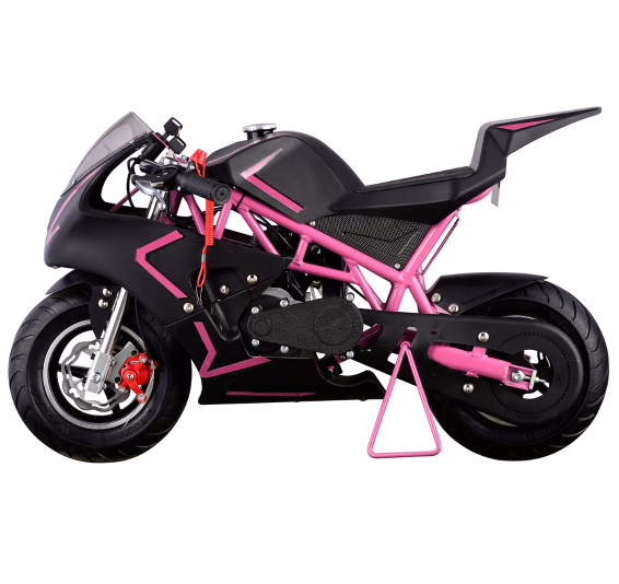 40CC 4-Stroke Gas Power Mini Pocket Motorcycle Ride-on, Pink Black, EPA Certificated by