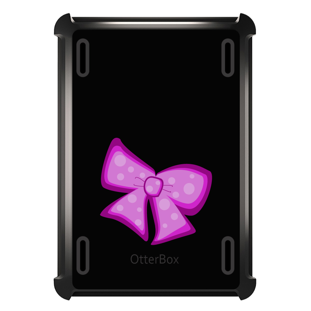 CUSTOM Black OtterBox Defender Series Case for Apple iPad Air 2 (2014 Model) - Pink Black Bow Ribbon
