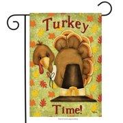 "turkey time garden flag thanksgiving pilgrim hat holiday humor 12.5"" x 18"""