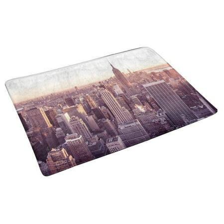 YUSDECOR York City Manhattan Skyline with Famous Empire State at Sunset Doormat Rug Home Decor Floor Mat Bath Mat 30x18 inch - image 1 de 3