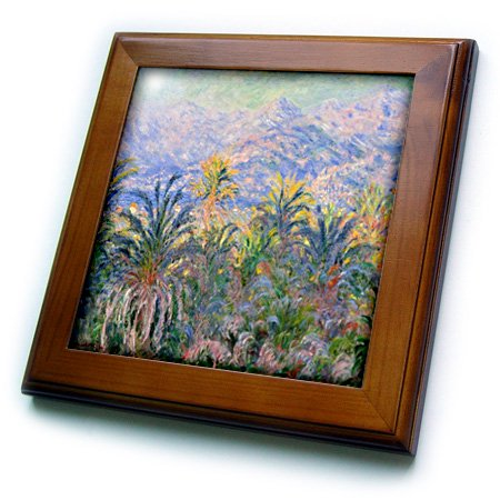 3dRose Print of Monet Painting Of Palm Trees And Mountain - Framed Tile, 6 by 6-inch