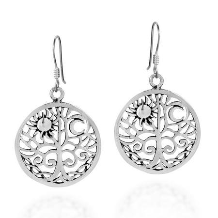 Silver Celtic Moon Earrings (Sunshine and Moon Celtic Swirl Tree of Life .925 Sterling Silver Dangle Earrings)