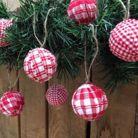Cherry Red & White Plaid Homespun Christmas Ball Ornaments Set of 12