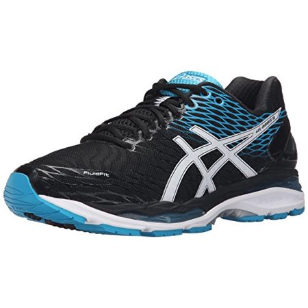 4e5cd0e98ecd ASICS - ASICS Men s Gel Nimbus 18 Running Shoe (Black White Island Blue