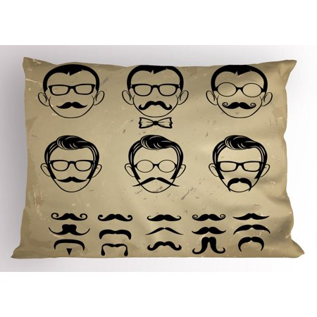 Geek Pillow Sham Male Face Silhouettes Showing Types of Moustaches and Haircuts Image, Decorative Standard Size Printed Pillowcase, 26 X 20 Inches, Eggshell Beige and Black, by (Different Types Of Haircuts For Black Males)