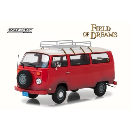 1973 Volkswagen Field of Dreams Type 2 Van, Red w/ Tan - Greenlight 84034 - 1/24 Scale Diecast Model Toy Car (Spongebob Tan Scale)