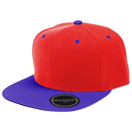 Plain Adjustable Snapback Hats Caps (Many Colors) Red | Blue One Size