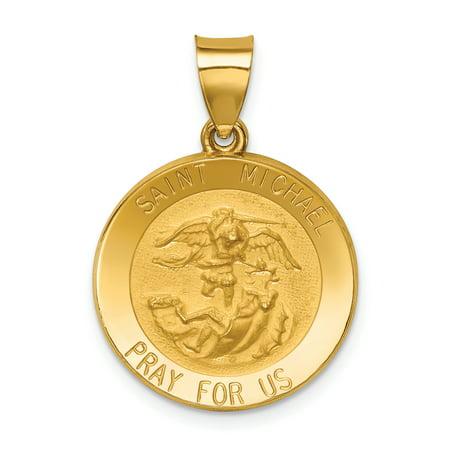 14k Yellow Gold Saint Michael Medal Pendant Charm Necklace Religious Patron St Fine Mothers Day Jewelry Morgan Satin Pendant
