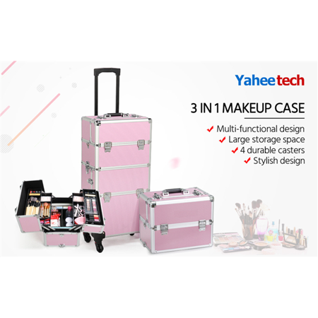 Aluminum 4 Removable Rolling Wheels Makeup Case Salon Cosmetic Organizer Trolley Train Case Makeup Case (Pink)