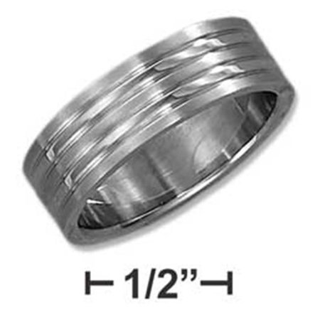 SR-3045-14 14 in. Stainless Steel Mens 8 mm Wedding Band with Double Lines - image 1 of 1