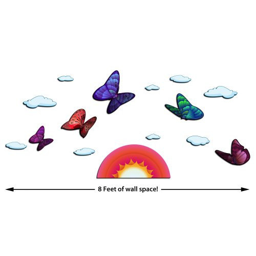 ZWalls Butterflies with Sunset 15 Piece Scene 3D Cartoon Wall Art