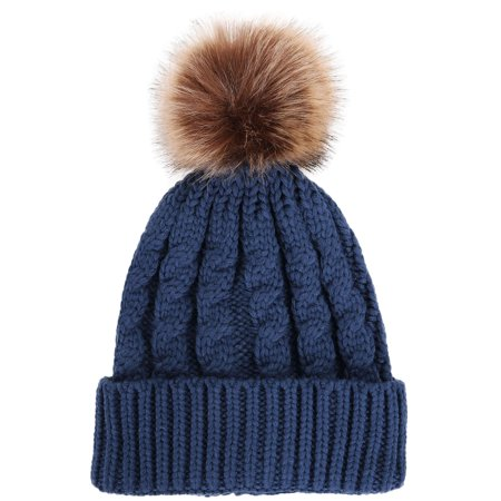 Unisex Winter Handcraft Knit Faux Fur Pom Beanie Hat Denim Blue (Mouton Fur Hat)