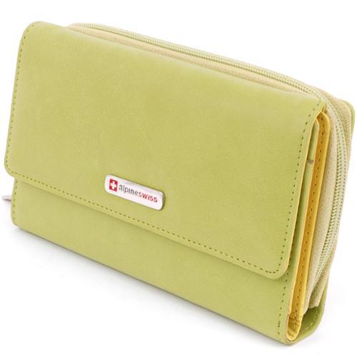 Large Organizer Wallet Checkbook Clutch Bag Womens Pocketbook Purse Alpine Swiss Green Organizer Wallet