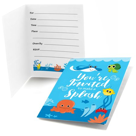 Under The Sea Baby Shower Invitations (Under The Sea Critters - Fill In Baby Shower or Birthday Invitations (8)