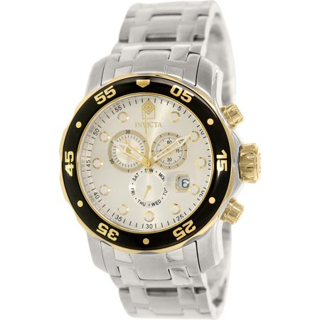 Invicta Men's Pro Diver 80040 Silver Stainless-Steel Swiss Chronograph Dress Watch