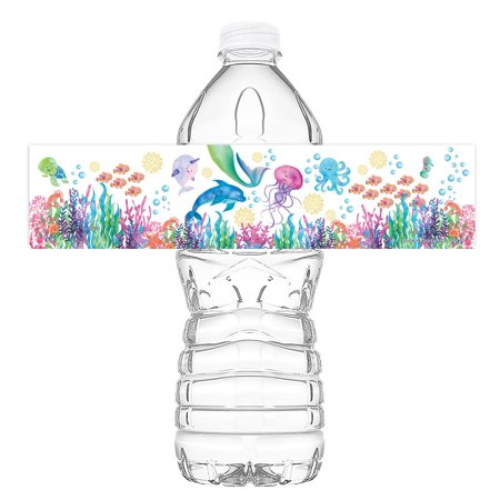 Mermaid Under the Sea Watercolor Bottle Wraps - 20 Under the Sea Water Bottle Labels - Mermaid Under the Sea Decorations - Pool Party Decorations - Made in the USA - Usc Decorations